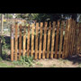 South west corner of fence with carved red cedar pickets