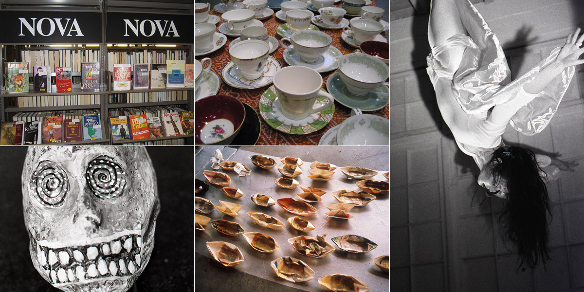 Collage of images, L to R books on library shelves, teacups, woman in white hanging upside down, skull mask, small paper boats