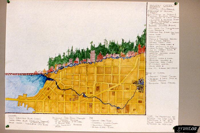 1986 09 19 Brewery Creek Mural Project Bill Rennie cross section landscape drawing