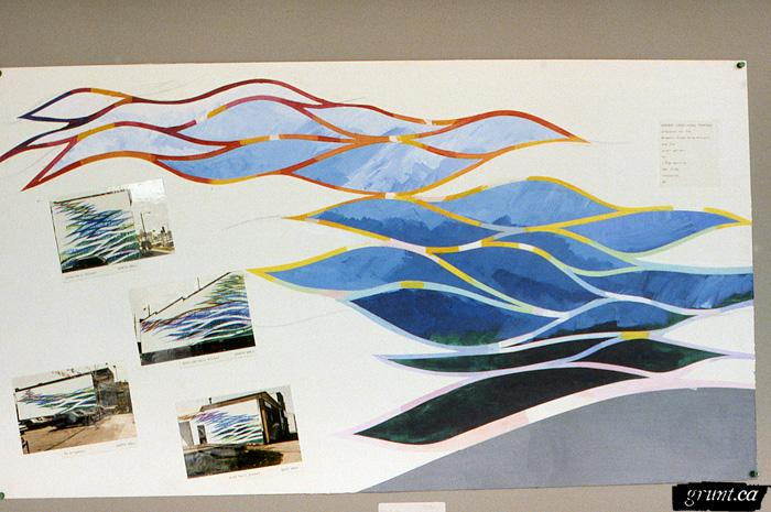 1986 09 19 Brewery Creek Mural Project graphic design blue waves with orange red yellow outline