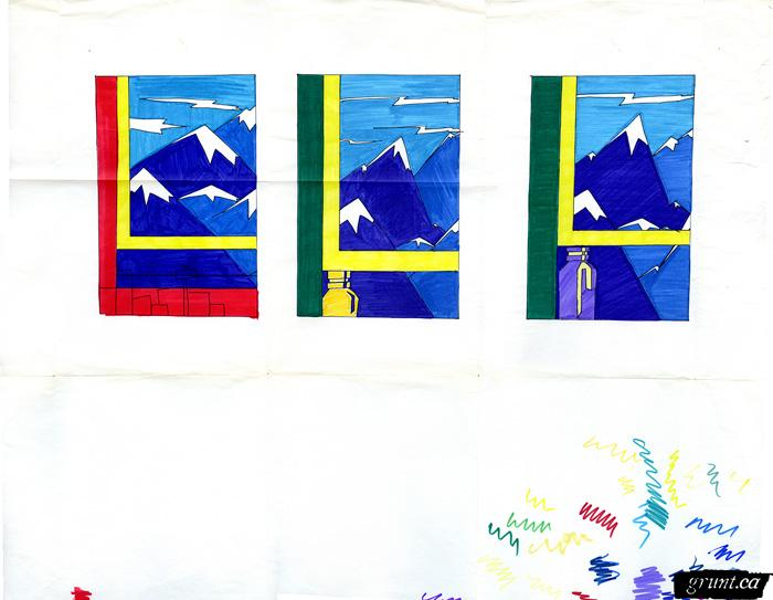 1986 09 19 Brewery Creek paper sketch colored markers three panel mountains
