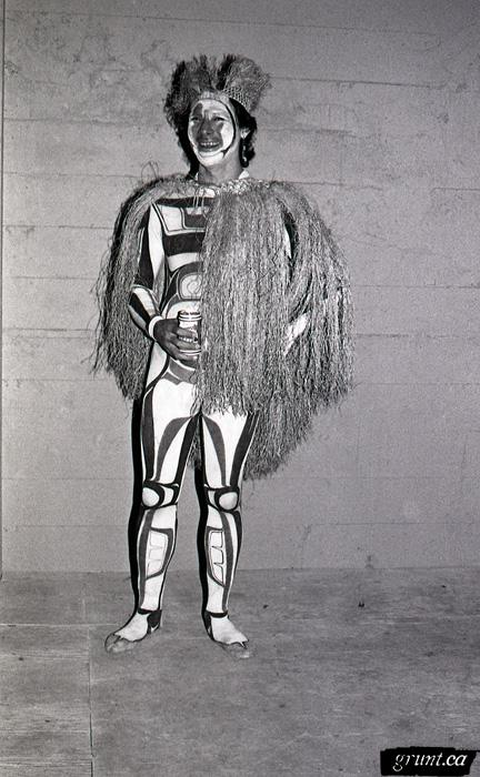 1991 10 30 Masque of the Red Death Aiyyana Maracle wearing northwest coast leotards