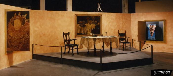 1991 10 30 Masque of the Red Death three paintings table with two chairs Liz Scully