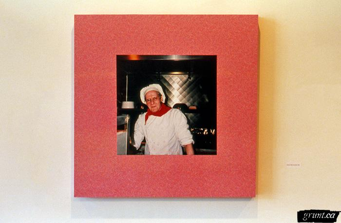 1996 06 04 The Mattering Map Project Pia Massie 07 detail man in chefs hat jacket mounted pink counter top